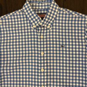 Vineyard Vines whale shirt blue white check boy lg